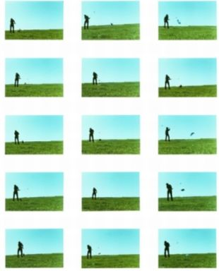 Baldessari. The Artist Hitting Various Objects with a Golf Club, 1972-73
