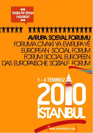 Cartaz do Foro Social Europeo, en Istambul