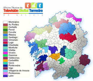 As 21 demarcacións de TDT local / tdtgalicia.es